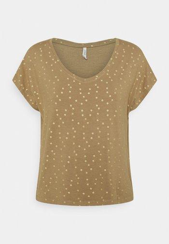 ONLMANYA GLITTER V NECK  - Print T-shirt - elmwood/gold