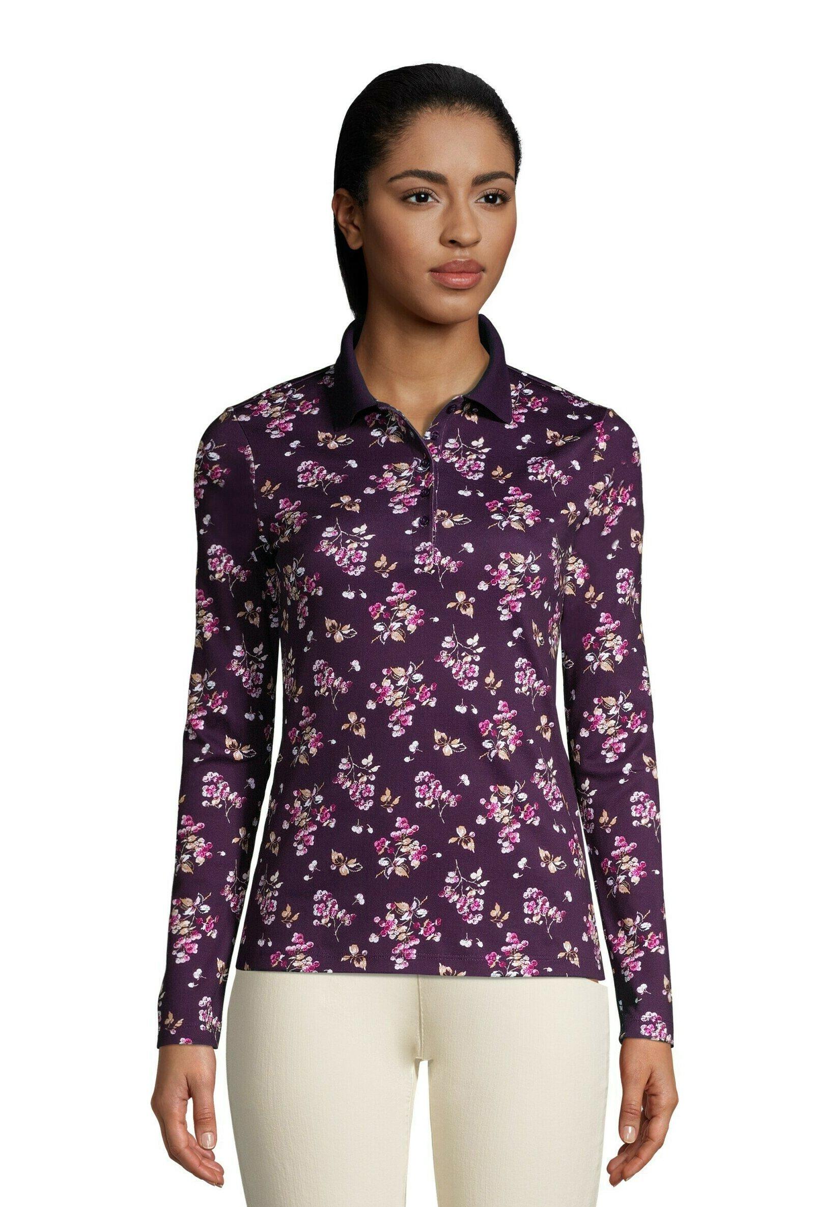 Damen Poloshirt - blackberry berry floral
