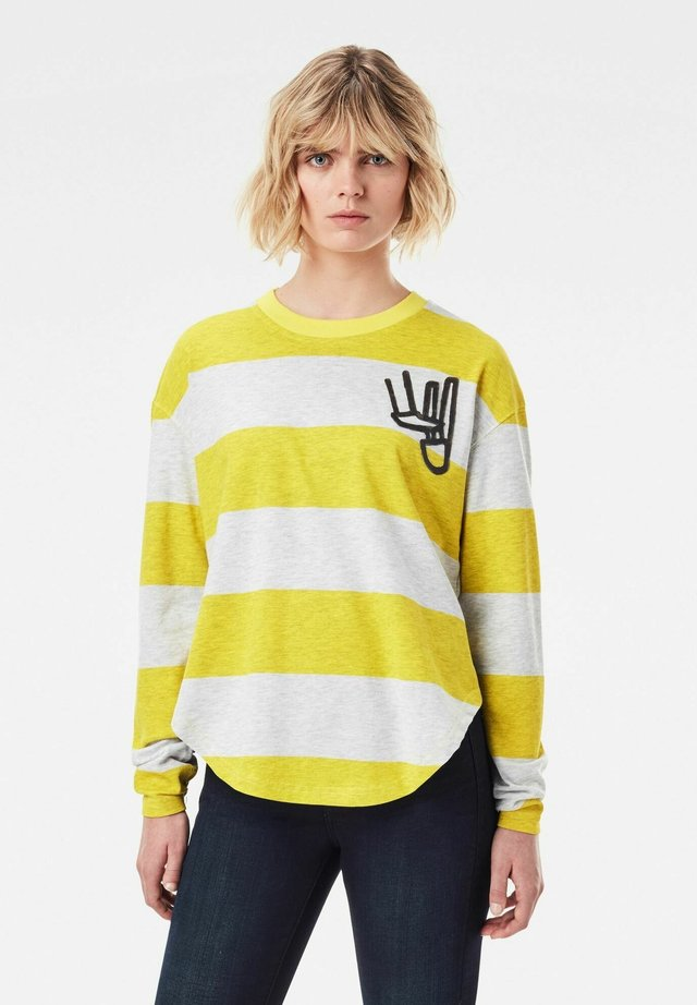 STRIPED TWEATER - Longsleeve - milk htr   bright yellow cab rugby