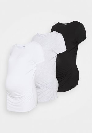 MATERNITY WRAP FRONT SHORT SLEEVE 3 PACK - Basic T-shirt - black/white/silver marle