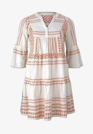 Abito a camicia - white orange large ikat design