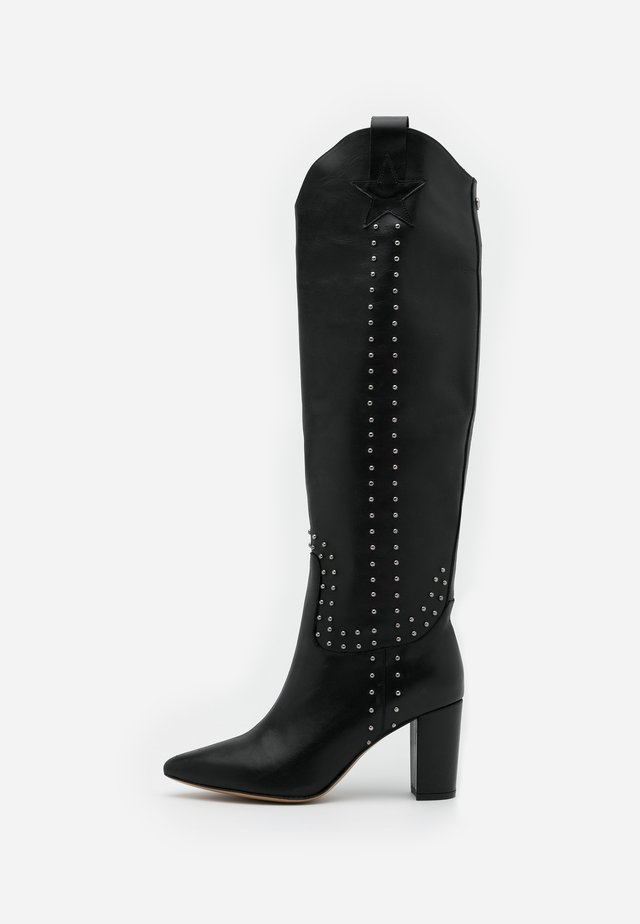 HUGO HIGH STUD - Cowboy/Biker boots - black