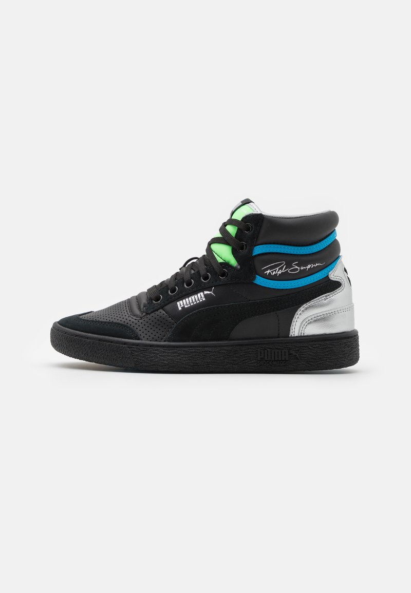 Puma - RALPH SAMPSON MID ROYAL FAM UNISEX - Sneakersy wysokie - black/elektrogren/dresden blue