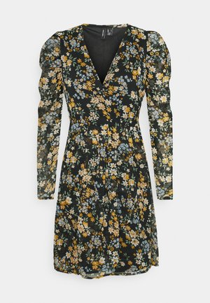 VMKAMMA NECK WRAP DRESS  - Day dress - black/flower