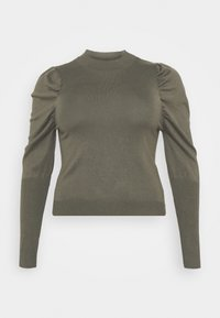 Glamorous Curve - CROPPED JUMPER WITH RIBBED HEMS PUFF LONG SLEEVES - Jumper - forest - 4