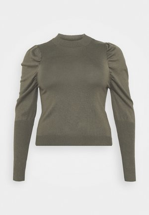 CROPPED JUMPER WITH RIBBED HEMS PUFF LONG SLEEVES - Jumper - forest