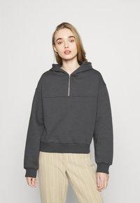 NU-IN - ELASTICATED HEM HALF ZIP HOODIE - Sweatshirt - dark grey - 0