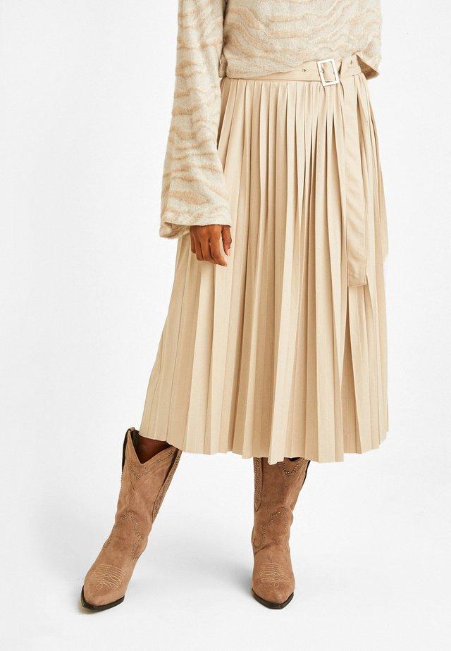MIT GÜRTEL - A-line skirt - cream