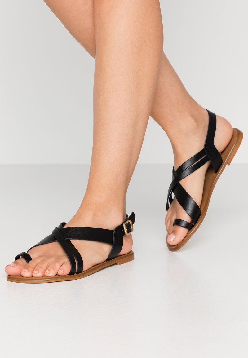 Office Wide Fit - SERIOUS - T-bar sandals - black