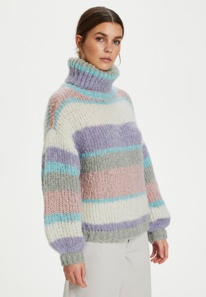 Jumper - aqua multi stripe