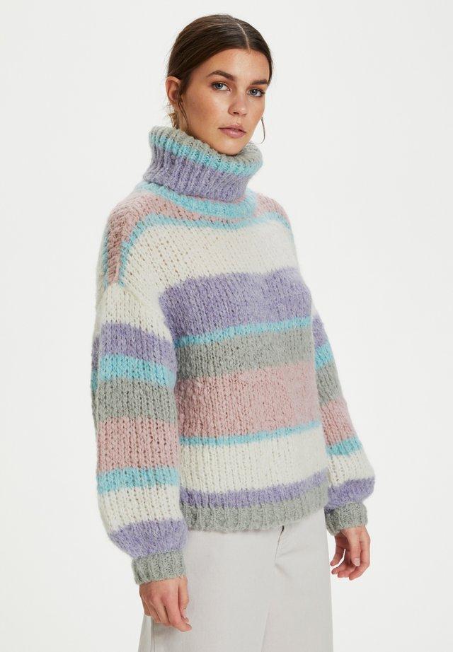 Sweter - aqua multi stripe