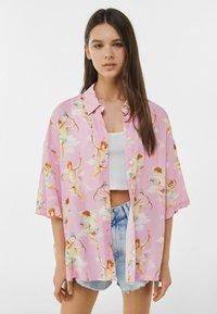 Bershka - Button-down blouse - pink - 0