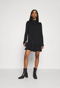 Missguided - HIGH NECK FRILL HEM DRESS - Day dress - black - 1