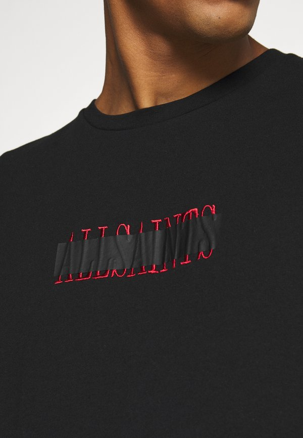 AllSaints STAMP LAMINATE CREW - T-shirt z nadrukiem - jet black/czarny Odzież Męska ZBRH