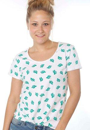 Print T-shirt - white cactus