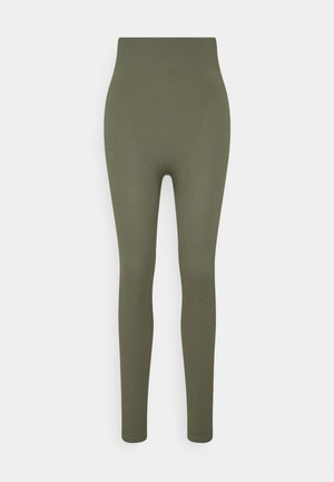 High waist ribbed seamless leggings - Leggingsit - green