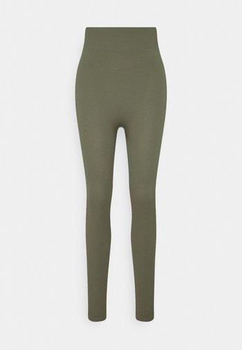High waist ribbed seamless leggings - Leggings - green