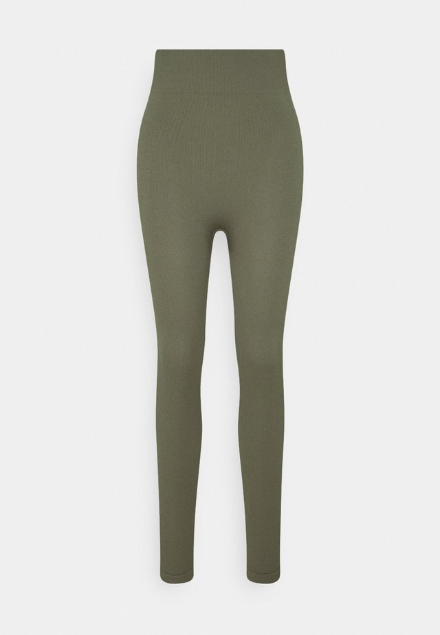 High waist ribbed seamless leggings - Leggings - Trousers - green