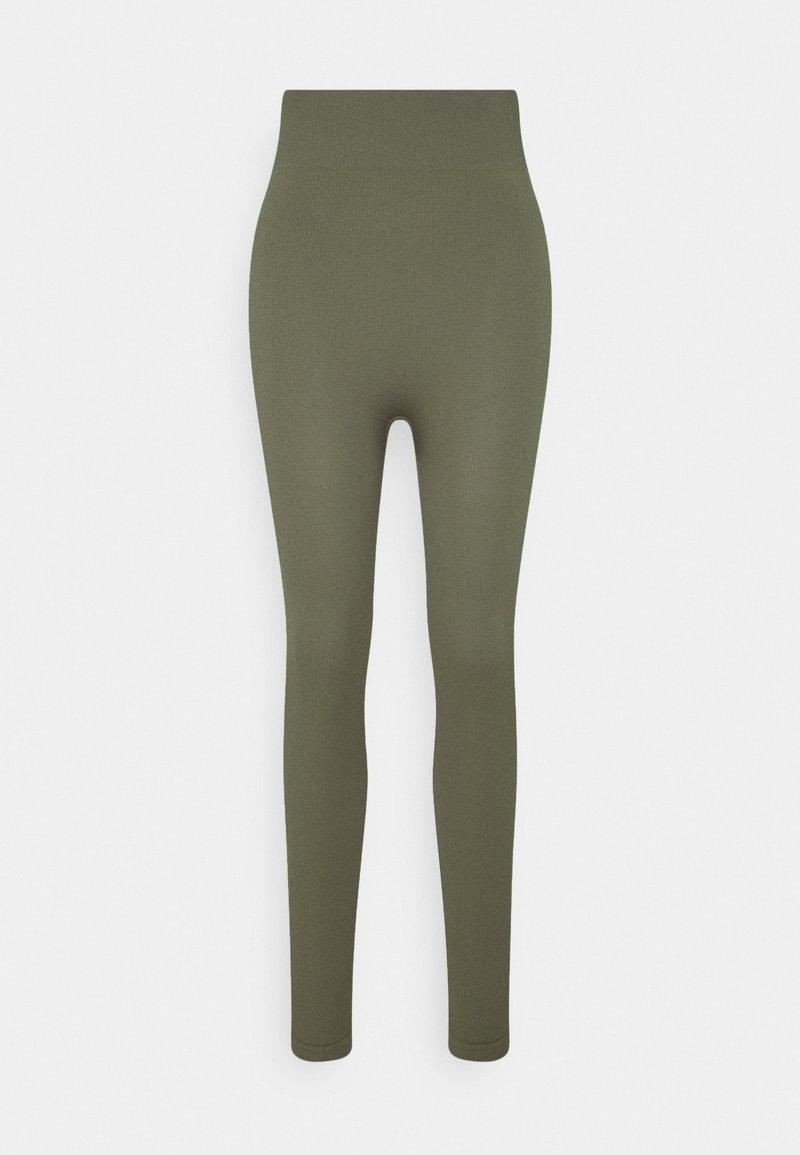 Zign - High waist ribbed seamless leggings - Leggings - Trousers - green