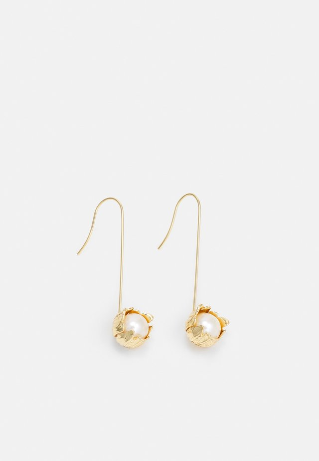 TEXTURED FLOWER WIRE EARRING - Earrings - gold-coloured