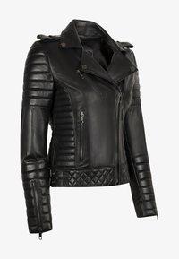 LEATHER HYPE - ALEX PERFECTO - Læderjakker - black with darkened silver accessories - 8