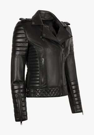 ALEX PERFECTO - Leather jacket - black with darkened silver accessories