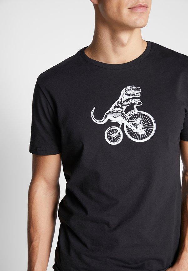Pier One T-shirt z nadrukiem - black/czarny Odzież Męska ZITX