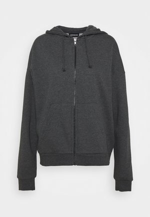 Zip through oversized hoodie jacket - Zip-up hoodie - mottled dark grey