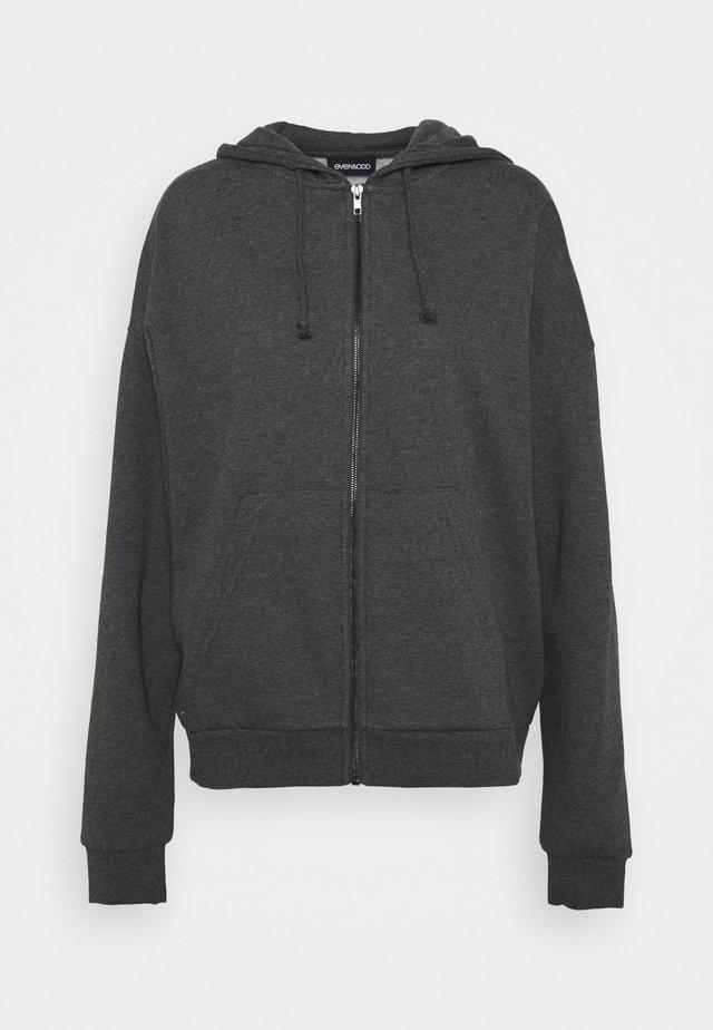 Zip through oversized hoodie jacket - Sweatjacke - mottled dark grey