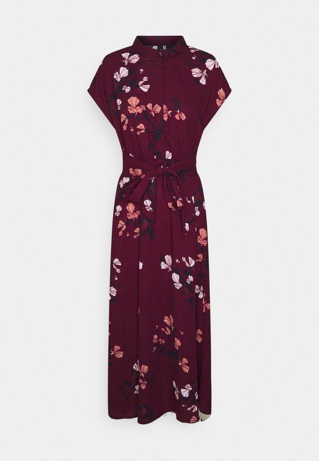 VMHALLIE LONG TIE DRESS - Košilové šaty - dark red