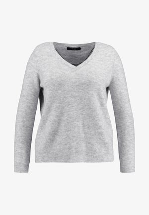 VMIVA V NECK - Strikkegenser - light grey melange/snow melange