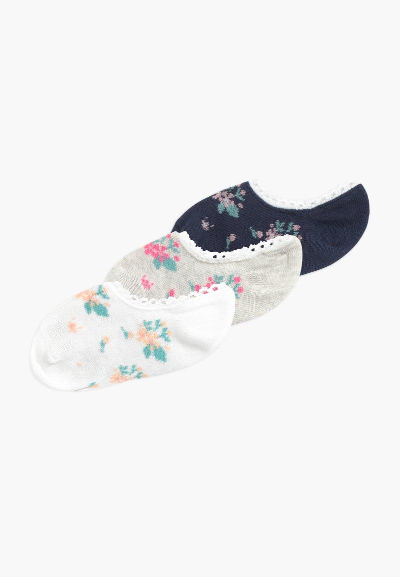 Ewers - FÜSSLINGE MIT BLÜMCHEN 3 PACK - Ponožky - tinte/grau/weiß