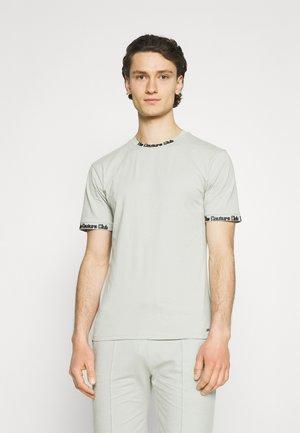 FLOCK DETAIL SLIM FIT T SHIRT - Basic T-shirt - sage green