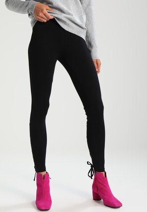 LACED UP BACK  - Leggings - Trousers - black