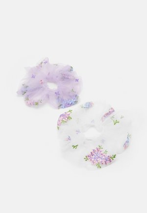 PCLINDSEY OVERSIZED SCRUNCHI 2 PACK - Hair styling accessory - bright white/lilac