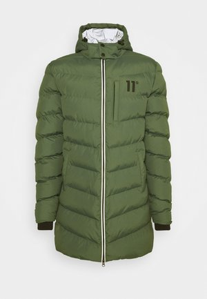 LONG LINE CHEVRON PUFFER - Winter coat - forest green