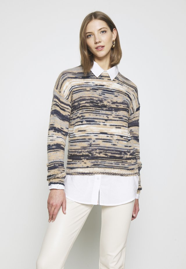 NMJOSEPH CROPPED O-NECK  - Maglione - bright white/brown/black