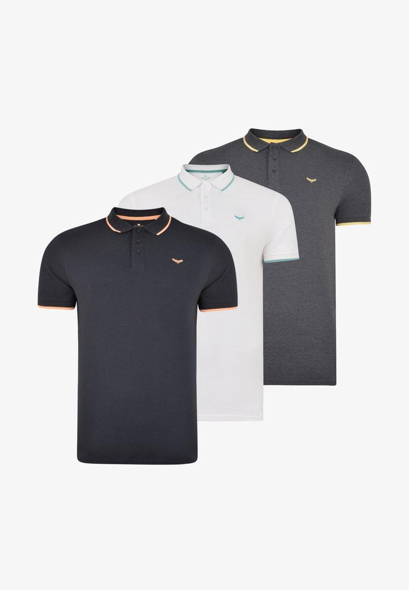 Threadbare - 3 PACK - Polo shirt - weiss, blau, grau