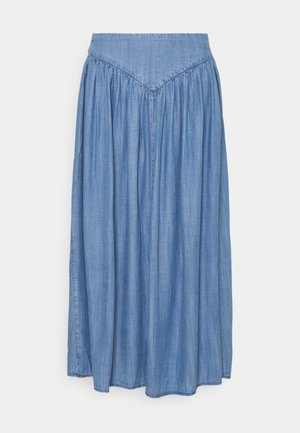 BYLANA LONG SKIRT  - Pleated skirt - mid blue denim