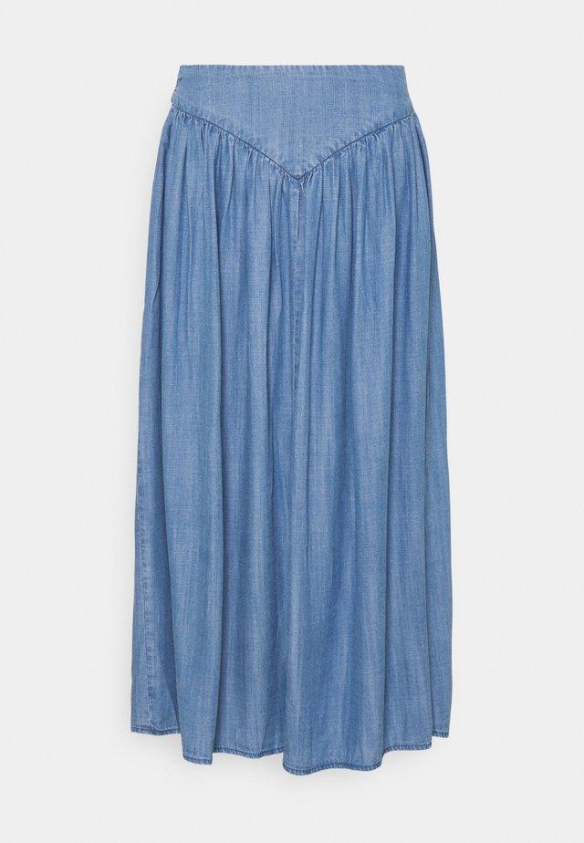 BYLANA LONG SKIRT  - Jupe plissée - mid blue denim