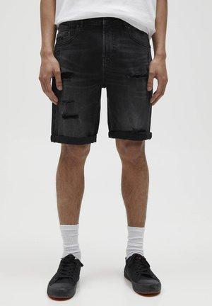 MIT RISSEN - Denim shorts - black