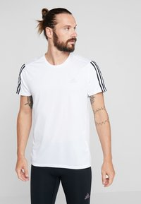 adidas Performance - RUN 3S TEE - Print T-shirt - white/black - 0