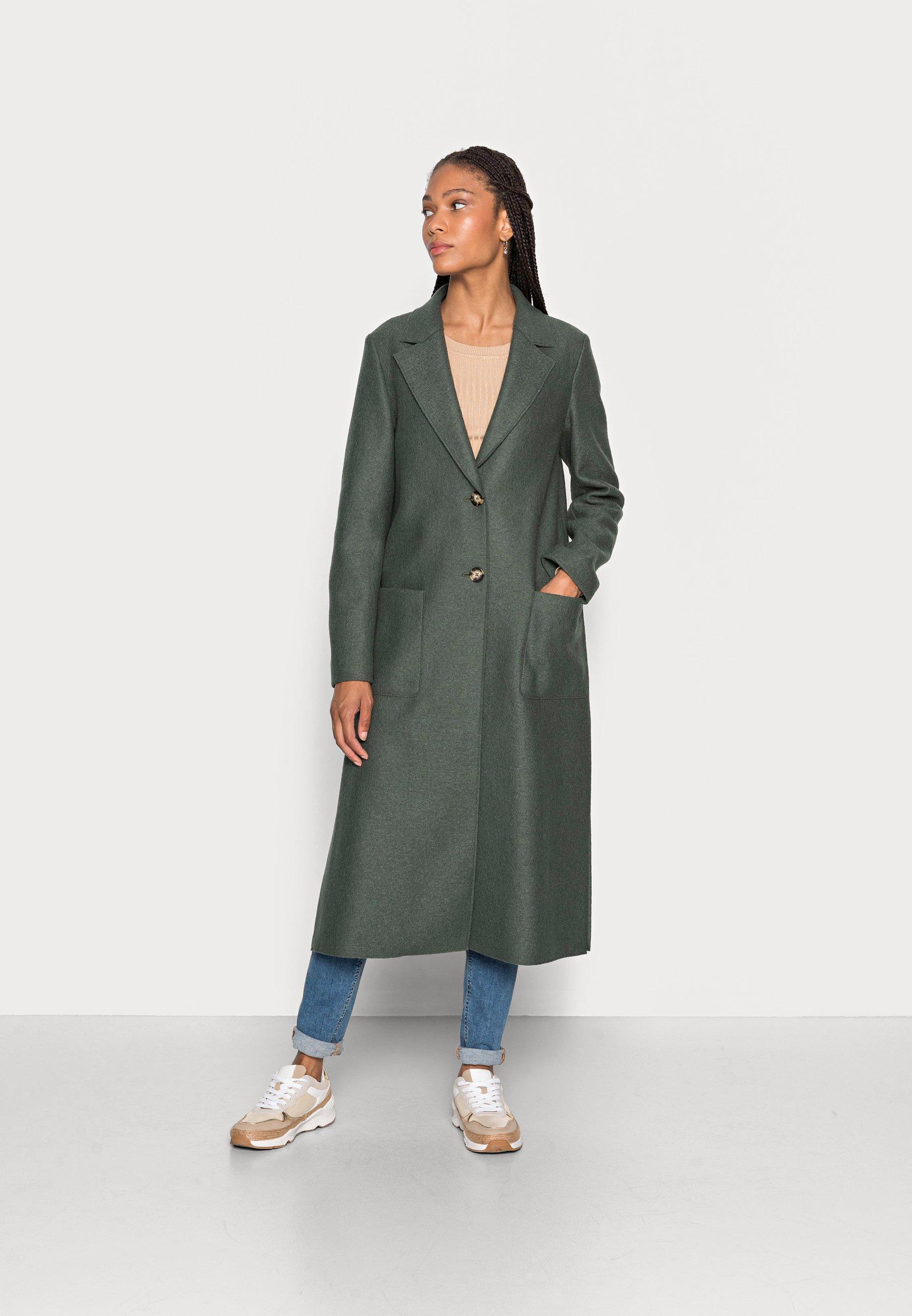 Women COAT BOILED LONG SIDE SLITS PATCHED POCKETS - Classic coat