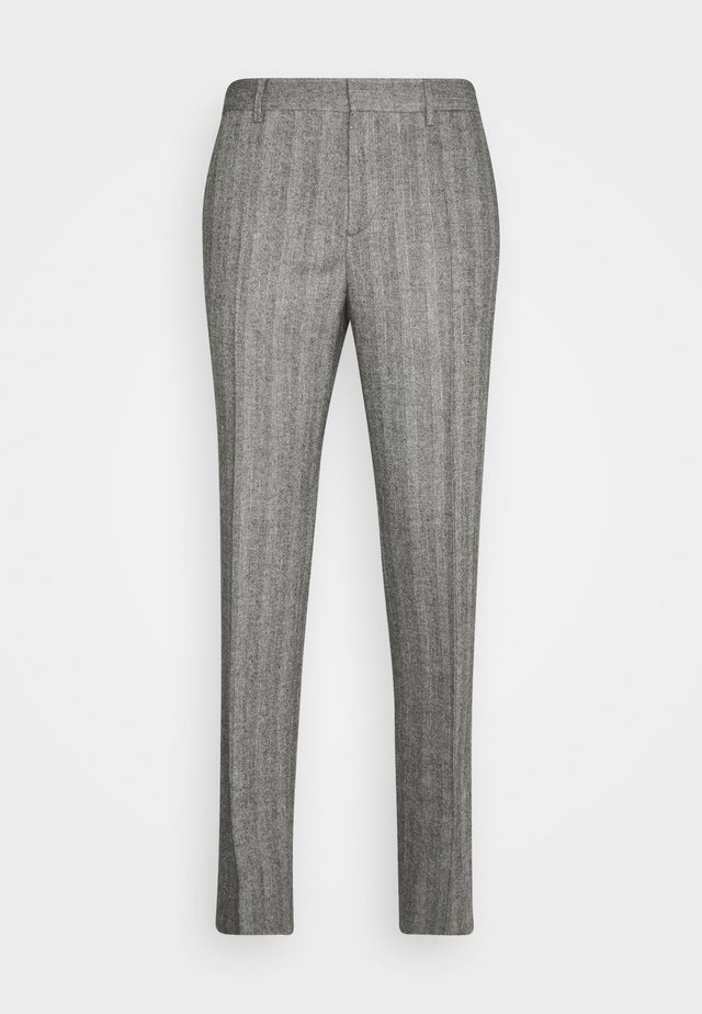 LEO HERRINGBONE  - Suit trousers - black