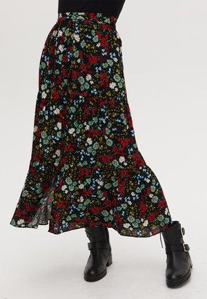 BUTTON THROUGH  - Pleated skirt - black