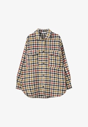 MIT HAHNENTRITTMUSTER - Button-down blouse - yellow