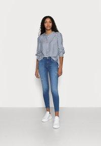 GAP Petite - SHIRRED - Button-down blouse - blue - 1
