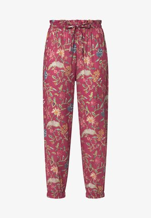 CORAL INDIAN FLORAL COTTON TROUSERS - Tygbyxor - red