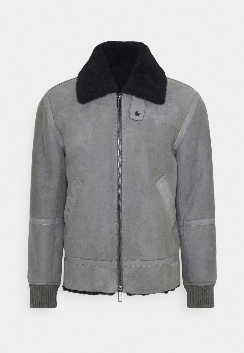 Emporio Armani - Kožená bunda - grey