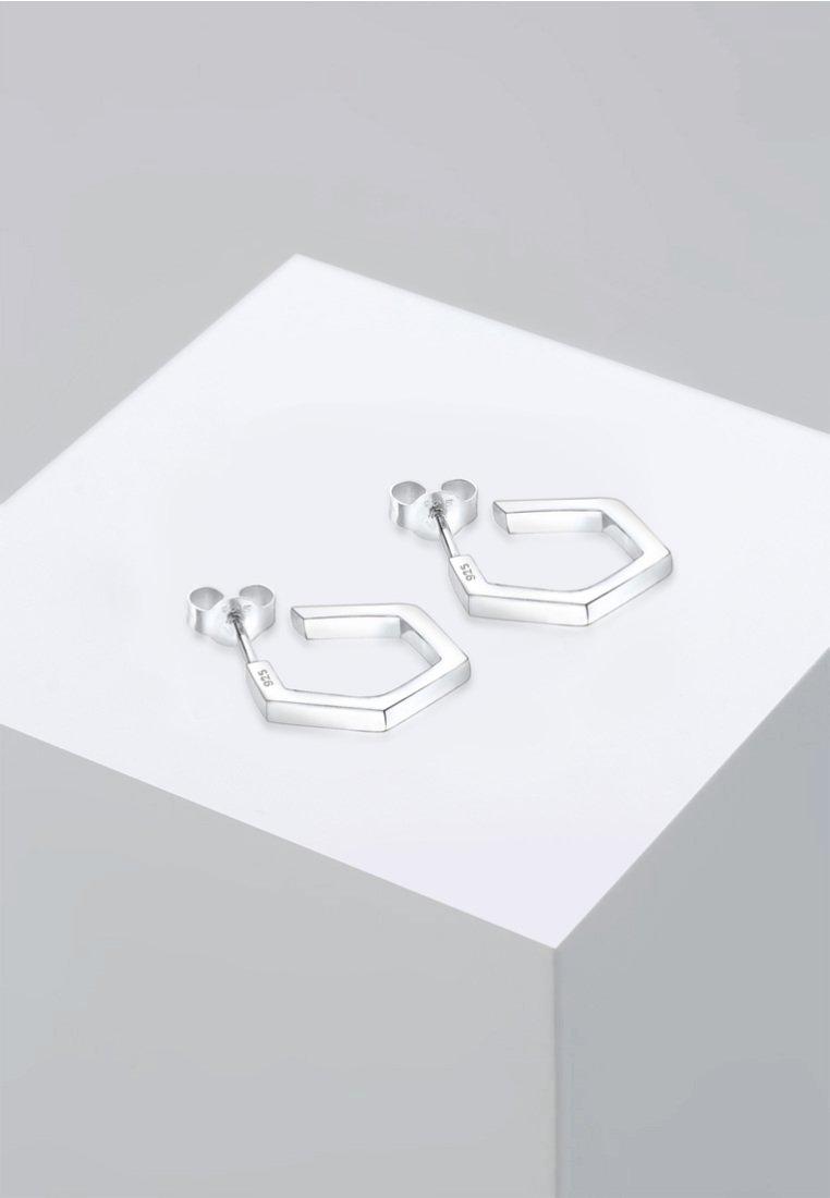 Elli - CREOLE HEXAGON GEO MINIMAL - Boucles d'oreilles - silver